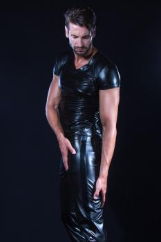 SHAWN Wetlook Herren Hose mit Lackstreifen Patrice Catanzaro