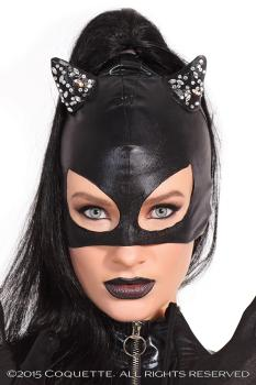 Cat Woman Maske Wetlook mit Strass Ohren, Coquette Katzenmaske
