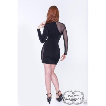 Party Stretchkleid VILMA schwarz, teils transparent von Patrice Catanzaro