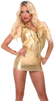 Goldenes Wetlook Minikleid/ Longshirt mit Kapuze