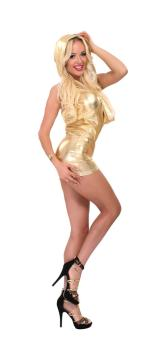 Goldenes Wetlook Longshirt mit Kapuze