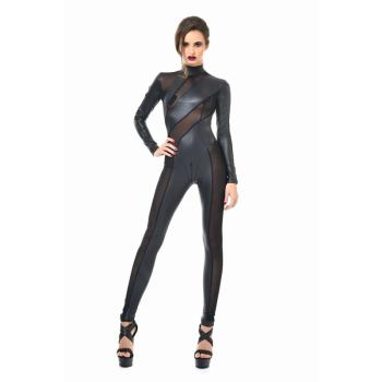 Patrice Catanzaro Catsuit ZIA schwarz Wetlook matt teils transparent