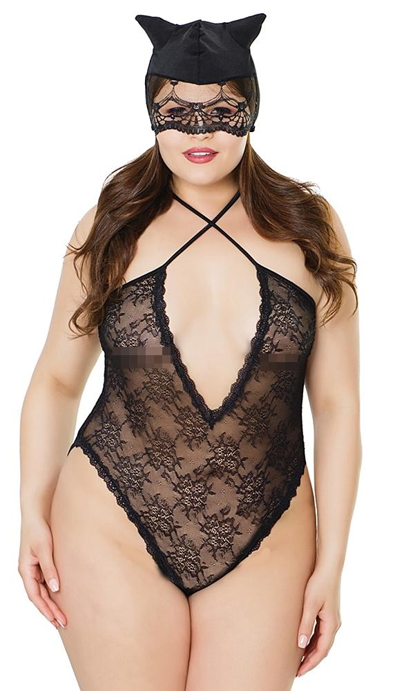Stretchspitzen Set Damen XL Body ouvert und Cat Maske