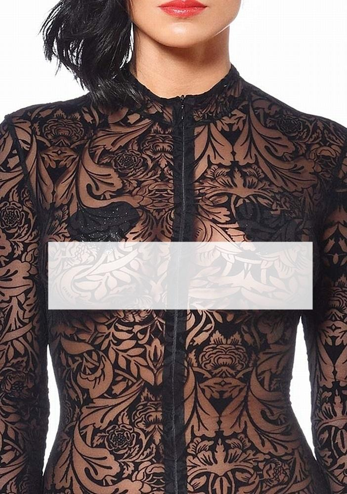 Catsuit Stretchnetz Maori Muster Detail