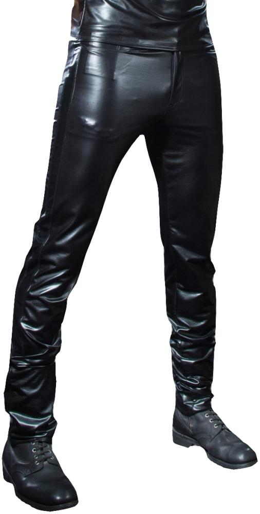 atanzaro Herrenhose Shawn Wetlook Lackstreifen